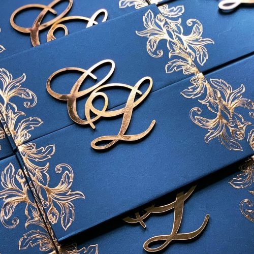 rose gold foil and lasercut initials