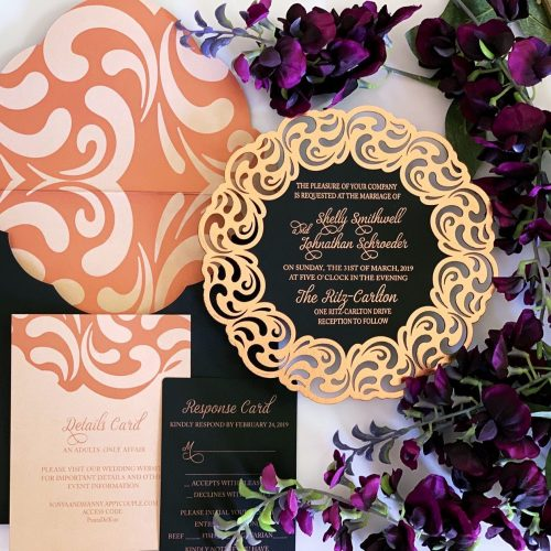Laser cut and foil stamped invitation