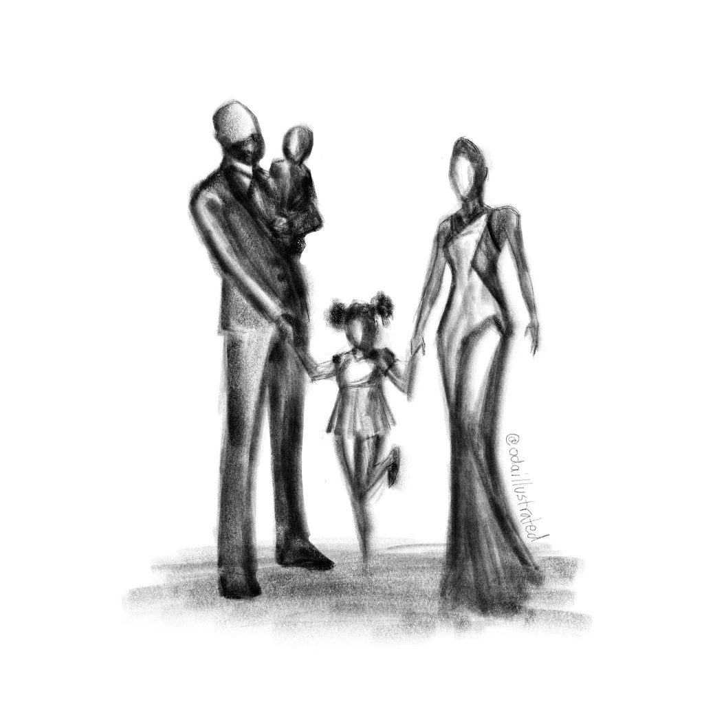 family silhouette drawing