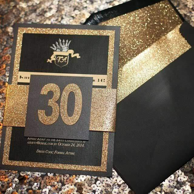 black and gold birthday invite