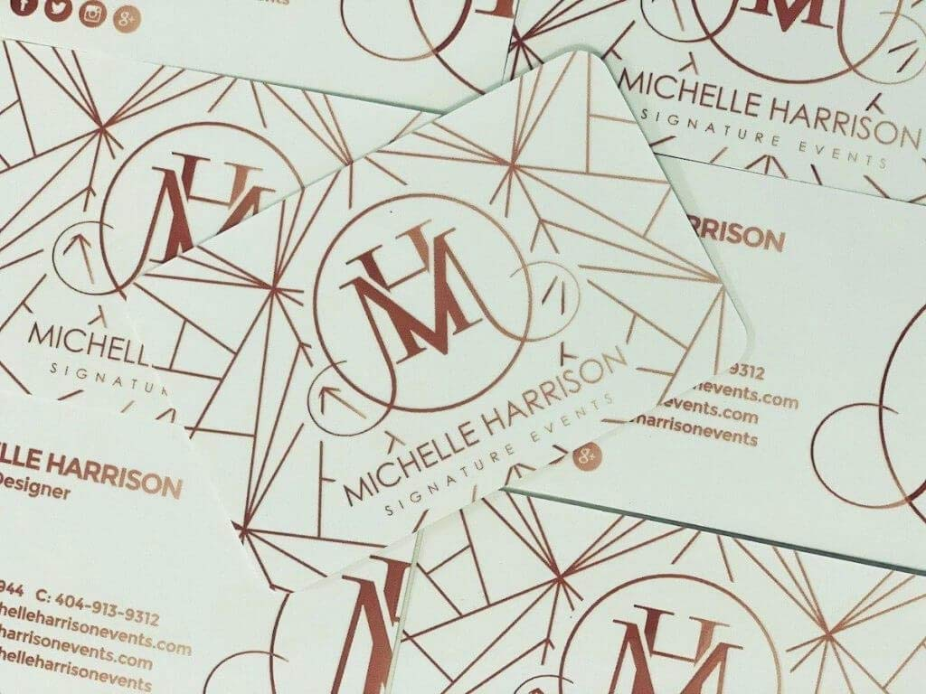 michelle harrison rose gold business cards shine