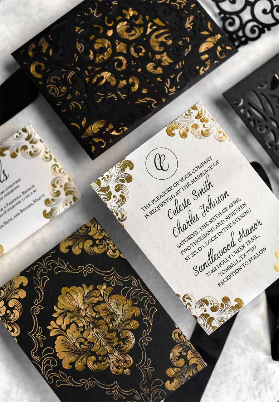 A lasercut baroque invitation with gold foil details