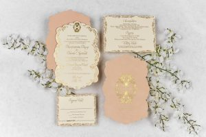 Die cut and foil stamped invitation